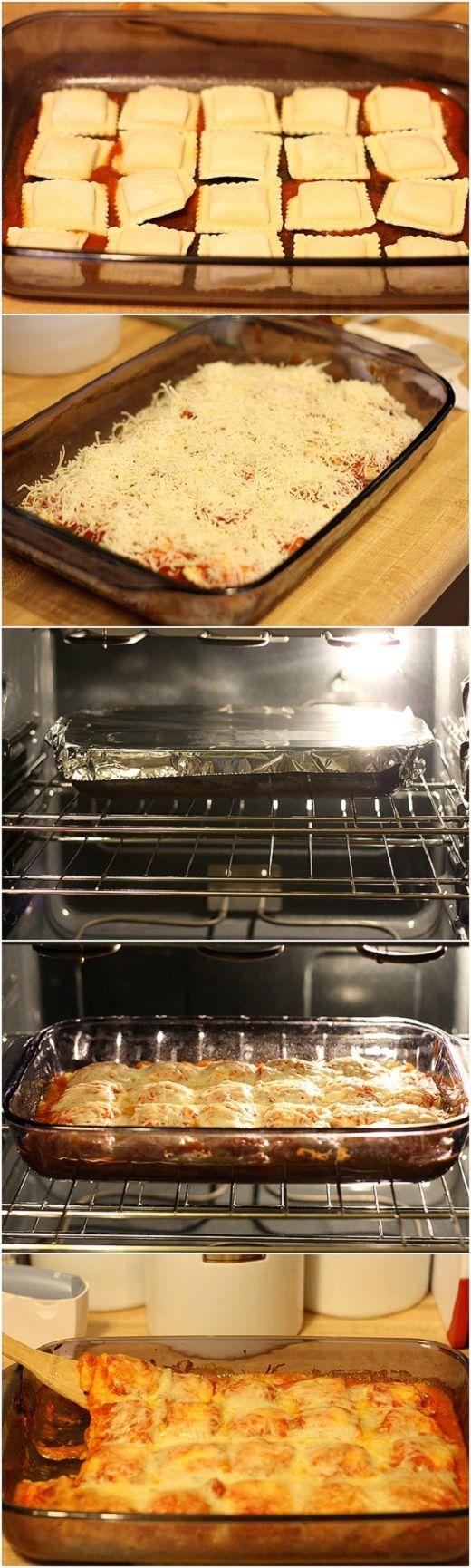 Baked Ravioli I used cheese ravioli, instead of lasagna noodles, and made a cheese ravioli lasagna!