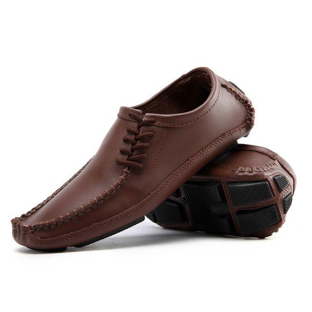 Gran Tamaño de Los Hombres de Conducción Zapatos de Cuero Genuino de la Buena Calidad de Los Hombres Se Deslizan En zapatos Cómodos Más El Tamaño 45 46 47 Tamaño de los EEUU 10 10.5 11