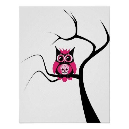 Pink Sugar Skull Owl in Tree Poster
