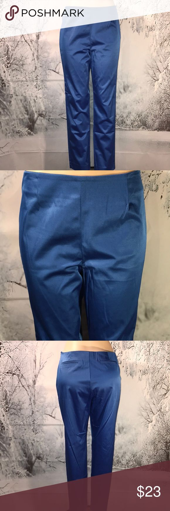 "Eric Sig Ankle Stretch Pant  Size 12 💕 NWOT Gorgeous pair of shiny blue Ankle stretch pants by Eric Signature. These are a mid rise straight leg stretch. Beautiful blue. Size 12 waist measures 17"" and are 29"" long. ❤️😊🐾🐾 Eric Signature Pants Ankle & Cropped"