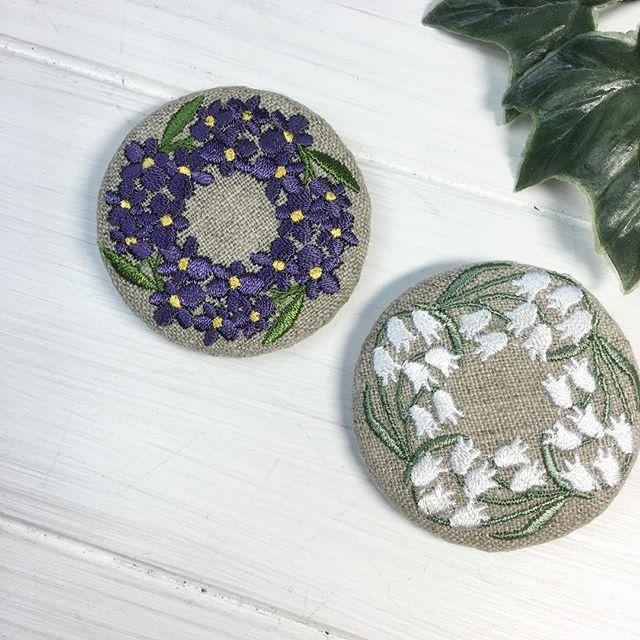 リース刺繍のブローチ #embroidery #刺繍 #ブローチ #brooch