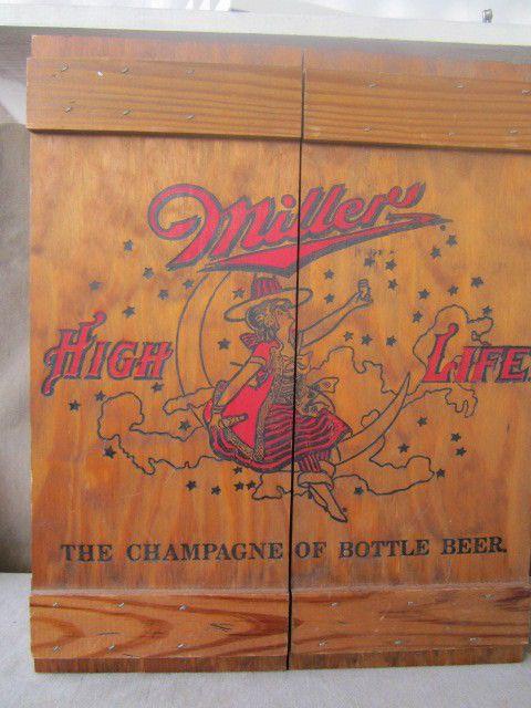 MILLER HIGH LIFE Beer Logo Label Wood Cabinet Girl Moon