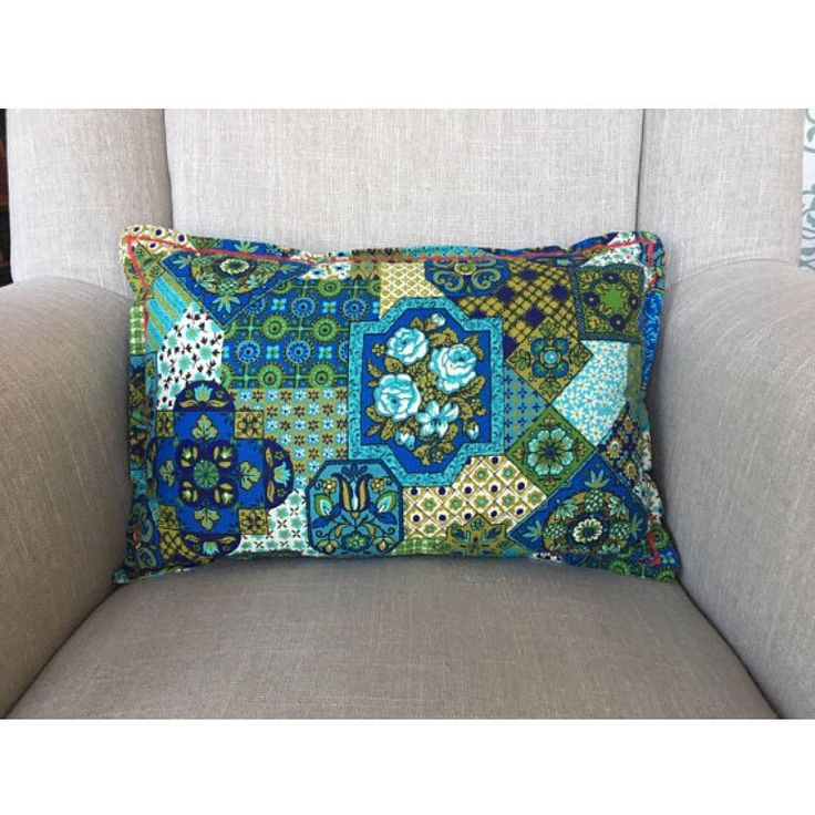 Vintage Cotton Throw Pillow Retro Geometric Fliral Print Teal Royal Blue Iluve Green Bohemian Boho Retro Kitsch Decor Patchwork Pattern #housewares #etsy #pillow #patchworkbluegreen #floralflower #handmadepillow #bohobohemian #throwpillow #midcenturydecor