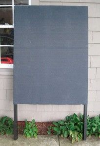 Art fair display panel out of insulation board w/ wood frame