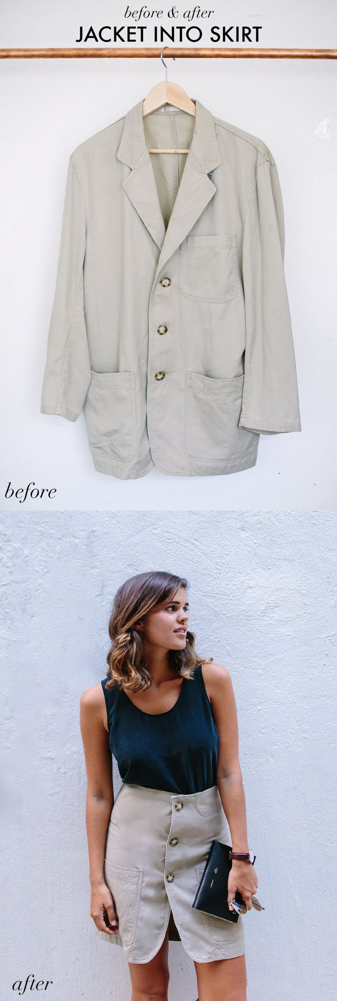 Turn a jacket into a skirt  You need: A jacket Scissors A needle and thread or sewing machine.