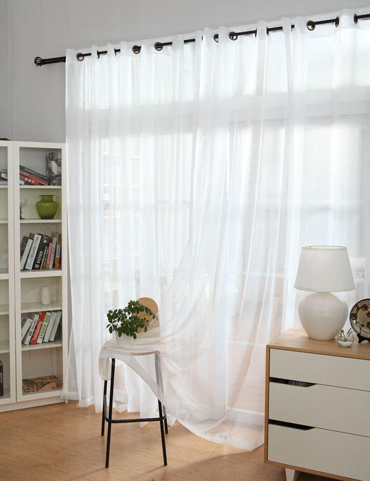 Пряжи занавес сплошной белый окна тюль просвечивающие шторы современной обработки окна декоративные перегородка вуаль занавес купить на AliExpress