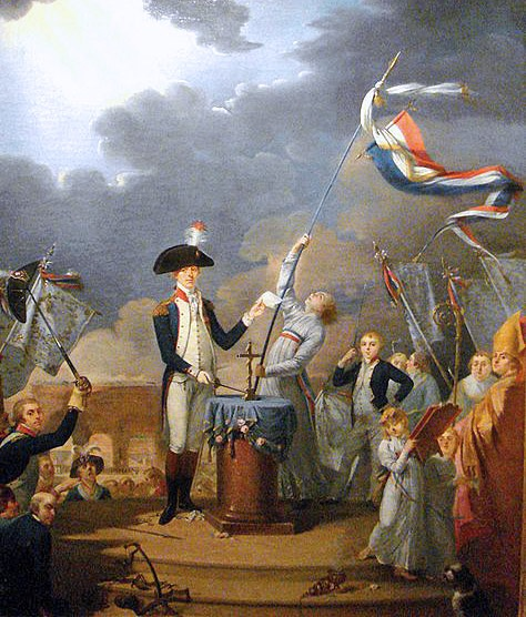 The Fête de la Fédération, 14 July 1790, was a huge feast & official event to celebrate the establishment of the short-lived constitutional monarchy in France & what people of the time considered to be the happy conclusion of the French Revolution, the outcome hoped for by the monarchiens. Shown here La Fayette takes oath at the Fête, 14 July 1790. Talleyrand, then Bishop of Autun can be seen on the right. The standing child is the son of La Fayette, the young Georges Washington de La…