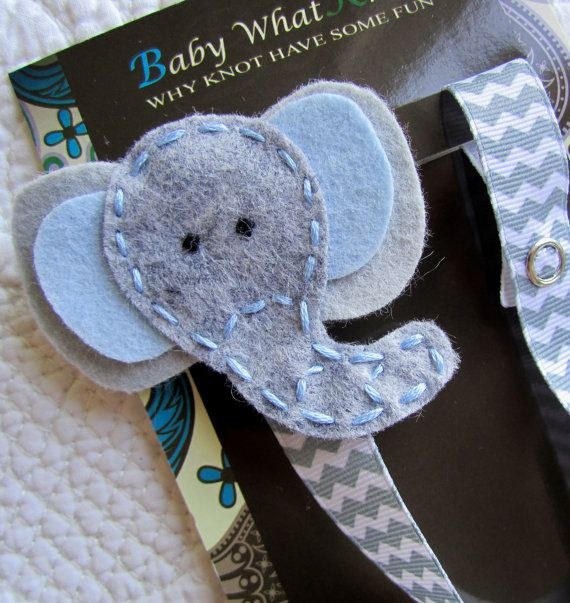 Baby Pacifier Clip Elephant Pacifier Clip Boy by babywhatknots, $8.75