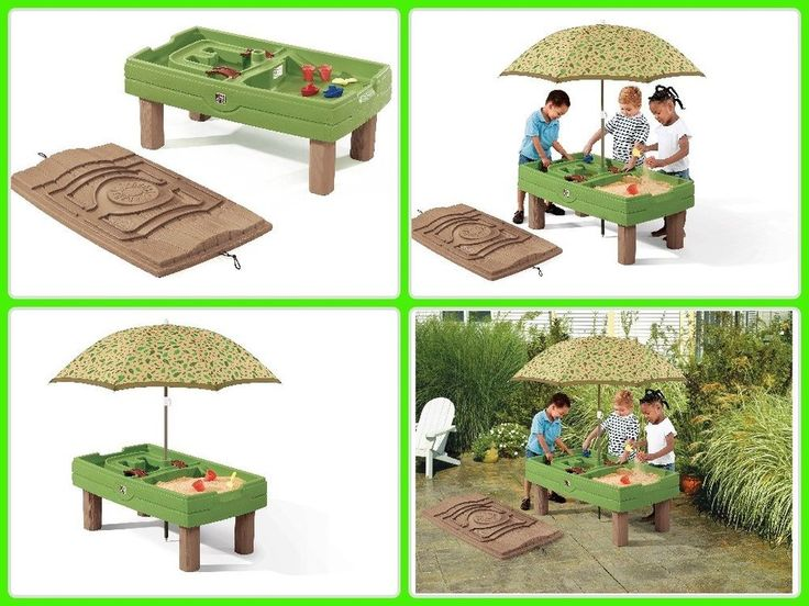 Step2 Kids Sand Water Table W/ Umbrella & Accessories Children Outdoor Toy Gift #toys