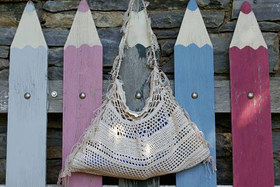 Ecru crochet fringe handbag natural cotton summer shoulder