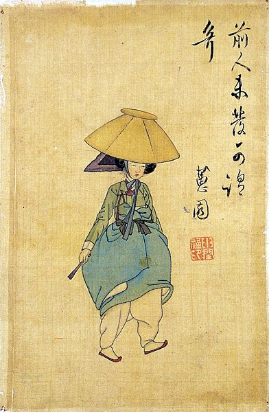(Korea) A woman with a Hat by Shin Yun-bok (aka Hyewon). ca 18th century CE. Joseon Kingdom, Korea. 19.1×28.2cm. National Museum of Korea, Seoul. 전모를 쓴 여인. 혜원 신윤복