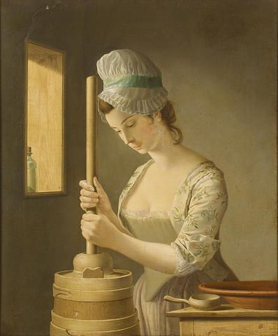 Henry Robert Morland (London circa 1719-1797) The Butter Churner 74 x 61 cm. (29 1/8 x 24 in.)