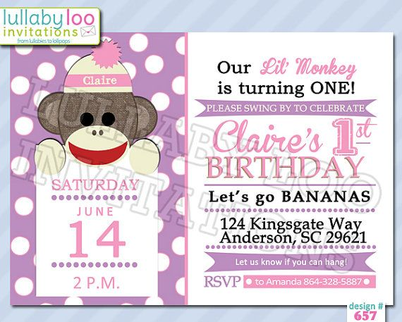Sock Monkey Birthday Invitations GIRLS 657 Set of by LullabyLoo, $18.00