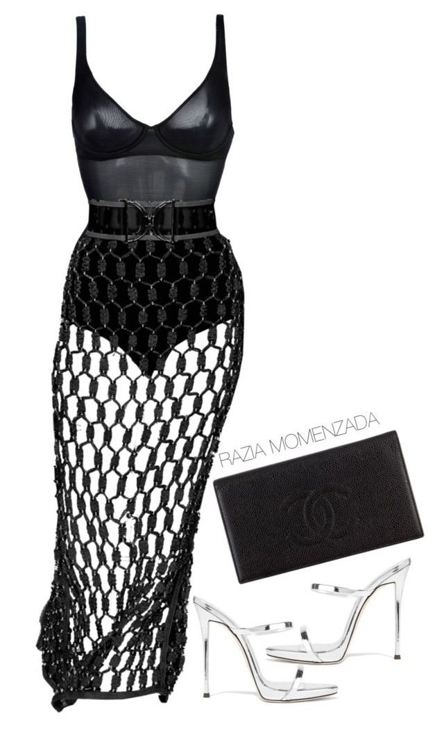 """Untitled #104"" by raaziaaa ❤ liked on Polyvore featuring Wolford, Giuseppe Zanotti and Chanel"