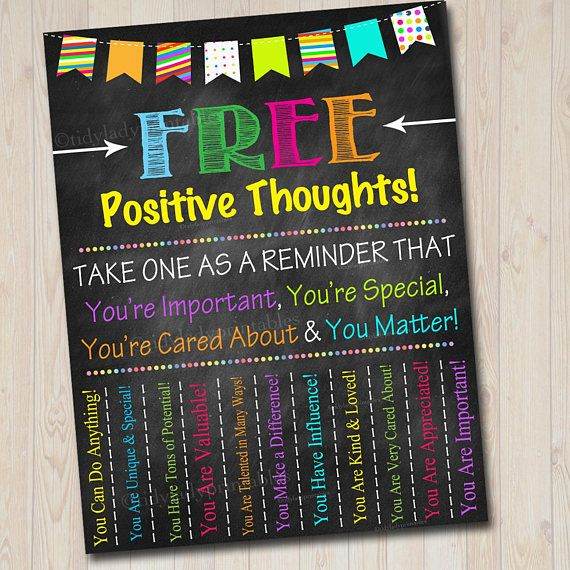 School Counselor Door Sign Positive Thoughts Tear Off Flyer