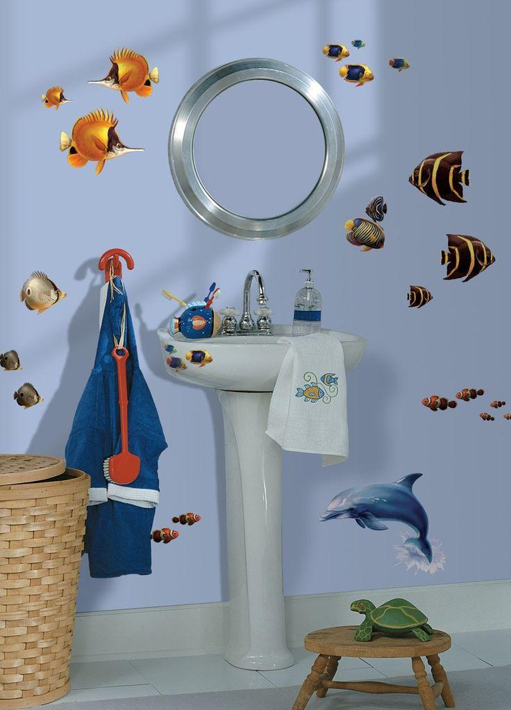 Eenvoudig aan te brengen, herbruikbaar. Slaapkamer of badkamer opfleuren. #Kinderkamer #Zee #Vissen #Dolfijn