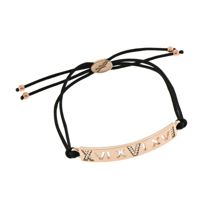 2016 Rose gold plated sterling silver bracelet with cubic zirgonia and a cord.  Dimensions: 40 Χ 5 mm. Γούρι 2016 βραχιόλι σε ασήμι 925 επιχρυσωμένο ροζ με λευκές πέτρες και κορδόνι.  Διαστάσεις : 40 Χ 5 mm.