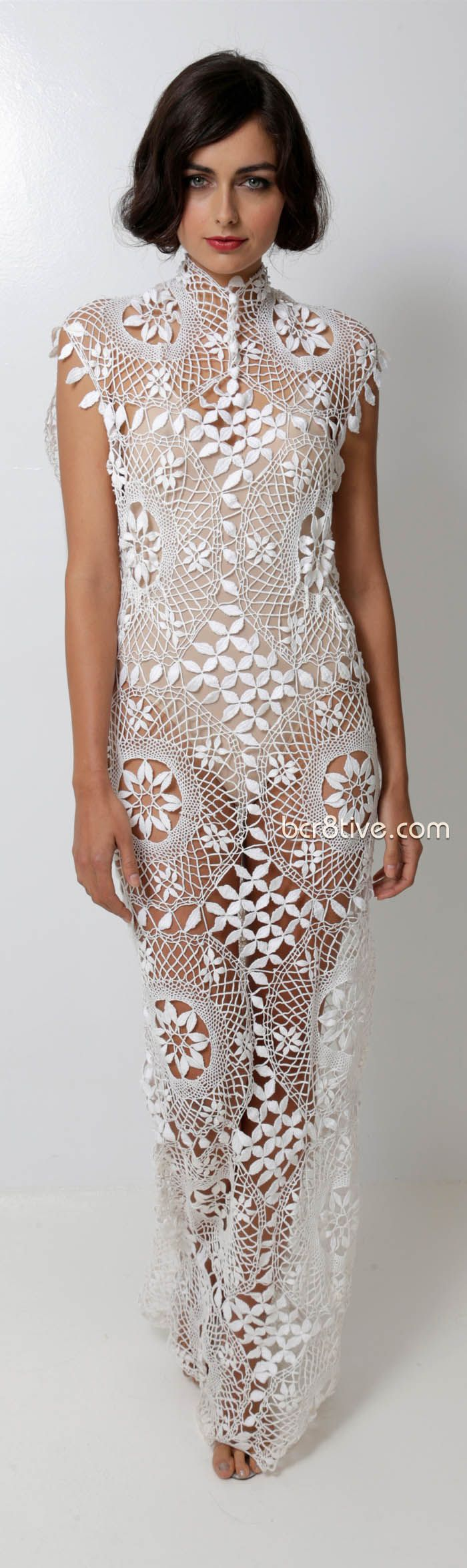 sexy Lacy Macrame see-through gown from Norma Kamali Spring Summer 2013 Ready to Wear Collection