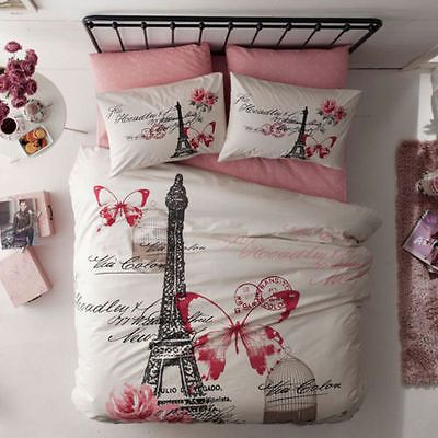 100% Cotton 8 PCS !! Paris Eiffel Tower Full Queen Size Comforter Set Bedding