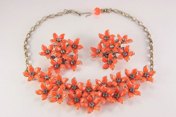 Chunky Necklace And Earrings Set Orange Early by VintageForAges