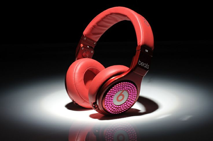 Monster Red Pro Headphones with Diamond