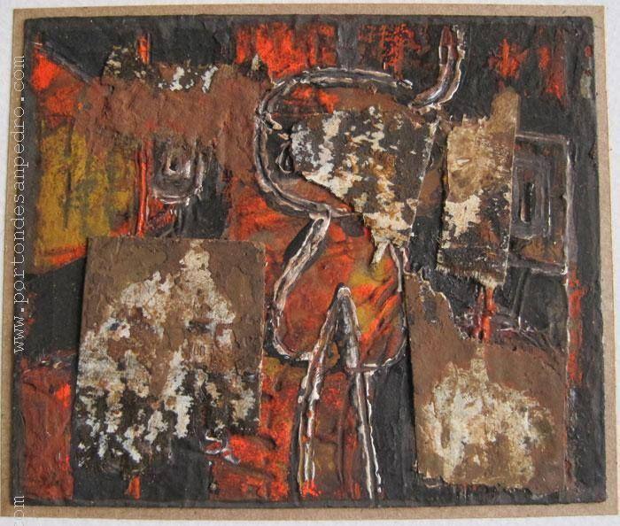 "Jaime Riveiro ""Aromas de leyenda"" Témpera y collage sobre papel 7 X 9 cms. Año 2013  http://www.portondesanpedro.com/ver-producto.php?id=10919"