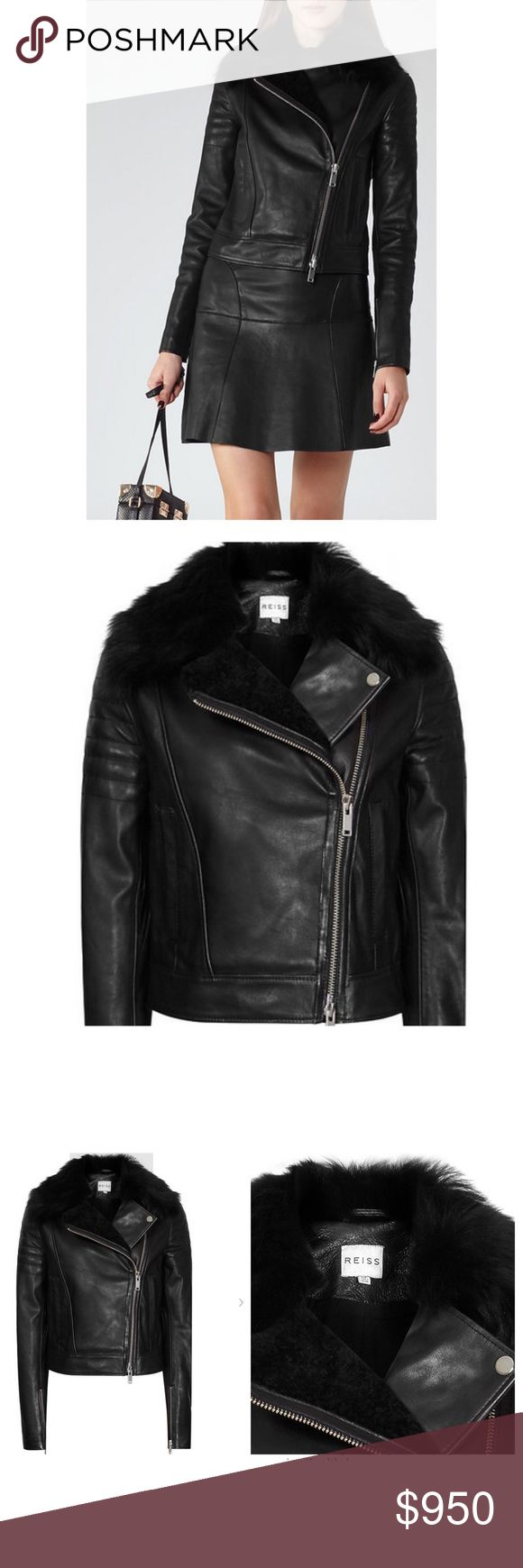SOLD OUT NWT REISS TILLY LEATHER JACKET - US8 NWT Reiss Women's Black Tilly Leather Jacket - US 8 / S-M. THIS IS SOLD OUT EVERYWHERE - even on Reiss.com. The black Tilly style is crafted to a classic design, punctuated with silver-tone metal hardware and has a shearling collar that adds a feminine edge. Wear it with jeans and boots for a modern take. Shearling collar. Part shearling lining Slanted side pockets Double-ended zip fastening. Zipped cuffs Composition - 100% Cow Leather SIZE…
