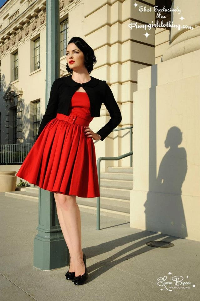 Red cardigan black dress