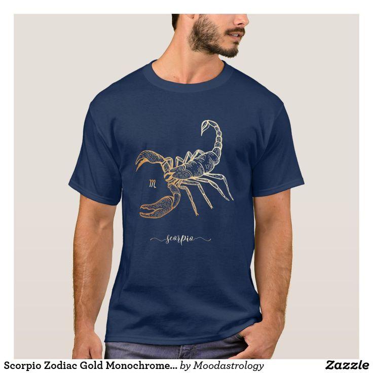 Scorpio Zodiac Gold Monochrome Graphic T-Shirt