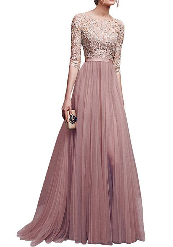 Pink Patchwork Lace Draped Slit Flowy Banquet Bridesmaid Elegant Elbow  Sleeve Maxi Dress 8fee8b4db80a