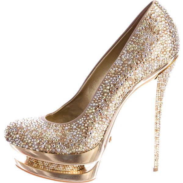 Pre-owned Gianmarco Lorenzi Disco Ball Pumps ($995) ❤ liked on Polyvore featuring shoes, pumps, heels, gold, colorful pumps, disco shoes, embellished shoes, multicolor pumps and multi colored platform pumps