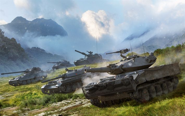 Download wallpapers World of Tanks, WoT, online games, tanks, Rheinmetall Panzerwagen, WZ-132-1, AMX 13 105, XM551 Sheridan