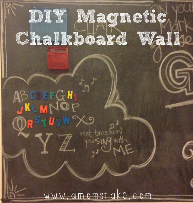 Kids Chalkboard and Magnet Wall DIY- perfect for keeping those magnetic letters off the fridge, too!