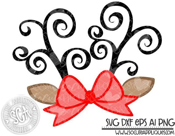 Reindeer Antler Svg File Reindeer Clipart Socuteappliques Etsy Christmas Crafts Christmas Monogram Christmas Svg
