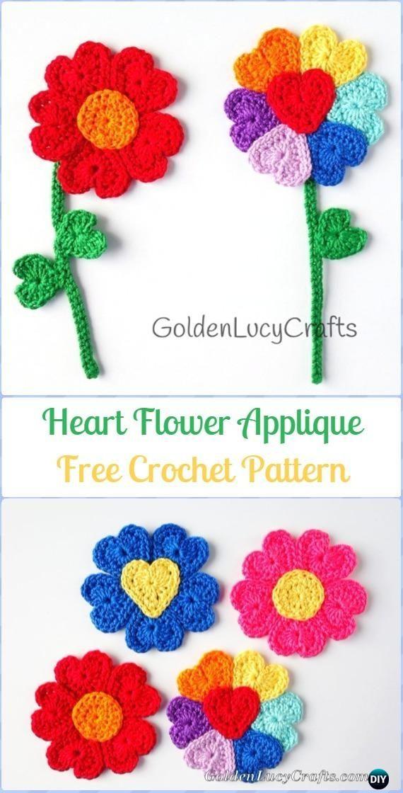 Crochet Heart Flower Applique Free Pattern - Crochet Heart Shaped Applique Free Patterns By Golden Lucy Crafts