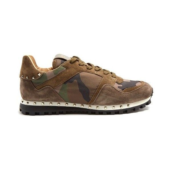 Valentino Rockrunner Camouflage-print trainers ($795) ❤ liked on Polyvore featuring men's fashion, men's shoes, men's sneakers, mens camo shoes, valentino mens sneakers, valentino mens shoes and mens camo sneakers