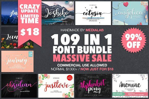 109 IN 1 BEST FONT BUNDLE - 99% OFF by MediaLab.Co on @creativemarket