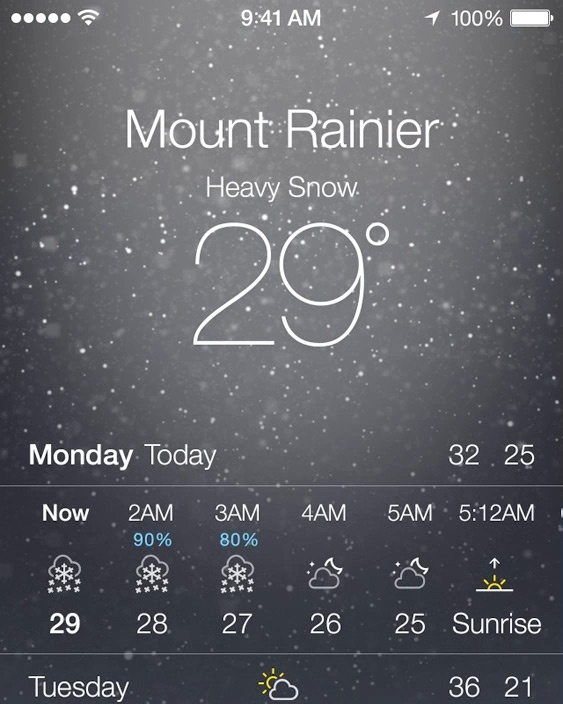 Apple iOS 7 not just showing beautiful simulation, but giving you a weather outlook, just like youre looking outside the window to feel and figure out what the weather like.