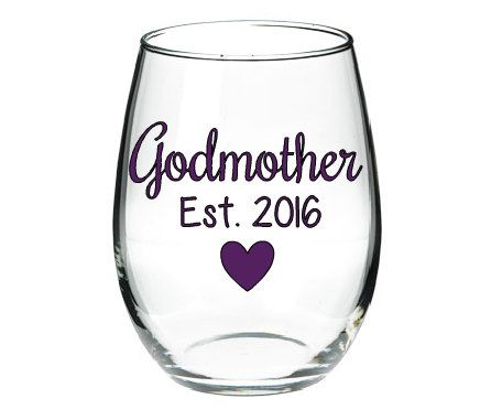 Godmother Wine Glass Will you be the Godmother by BloominDesigns4U