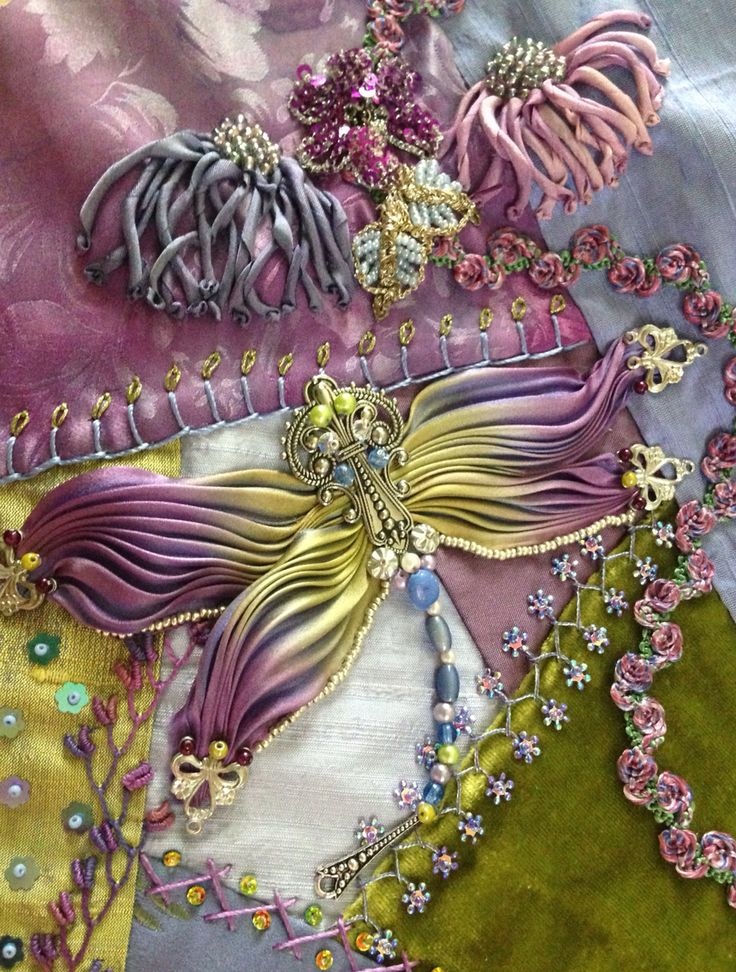 I ❤ crazy quilting, beading & ribbon embroidery . . . Crazy quilt with Shibori dragonfly ~By Pat Winter