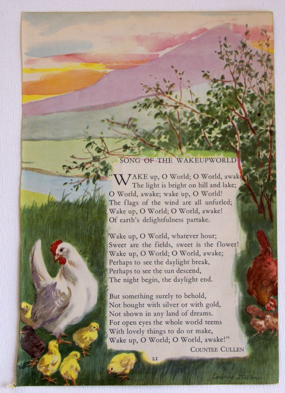 Vintage Sunrise With Chickens Children S Book Illustration
