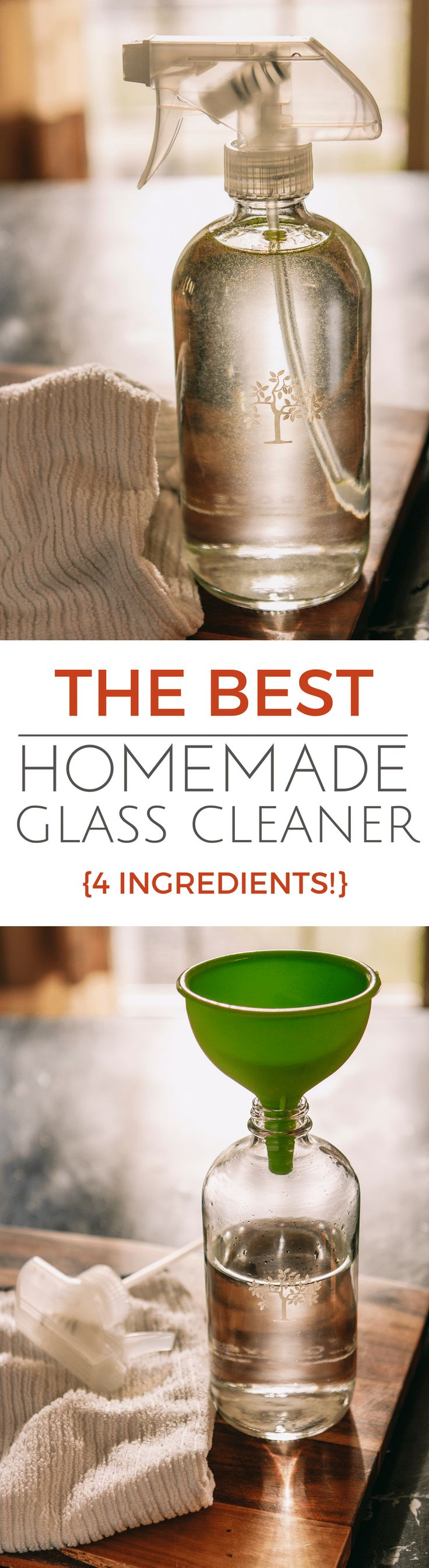 The Best Homemade Glass Cleaner {4 Ingredients} -- truly the best dang homemade glass cleaner you will try… Easy, streak free & non-toxic AND it's just 4 ingredients!   diy glass cleaner   glass cleaner recipe   cleaning ideas   cleaning products   essential oil recipes   find the tutorial on unsophisticook.com
