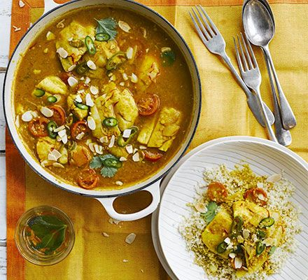 A low calorie Moroccan fish stew flavoured with saffron, almonds, cinnamon, ginger and more. It's ideal for entertaining- make a batch ahead and freeze