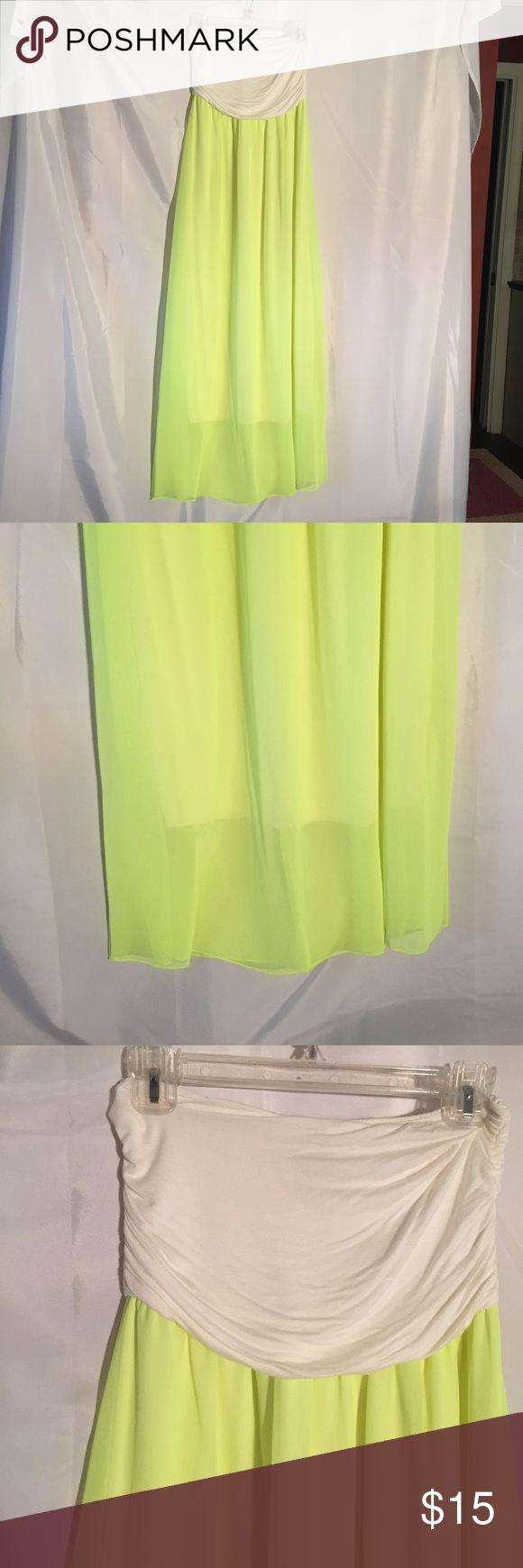 Nymphe yellow strapless maxi dress size M Nymphe yellow strapless maxi dress size M. 95% rayon 5% spandex Nymphe Dresses Maxi