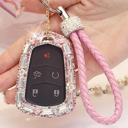 Bling Car Key Holder with Rhinestones for Cadillac ATS-L CT6 XTS XT5 CTS SRX - Pink