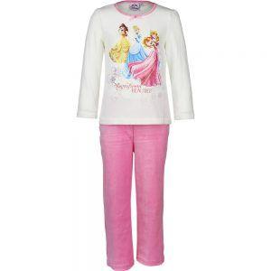Disney velours kinderpyjama van Corazonkids Prinsessen donker roze. Dit is een kinderpyjama met een donker roze broek voor de koude winter dagen. De trui heeft een ronde halslijn, lange mouwen en een grote print opdruk van Disney Prinsessen. De kinderpyjama van Corazonkids Prinsessen donker roze heeft een licht roze lange broek die is voorzien van een elastische tailleband.