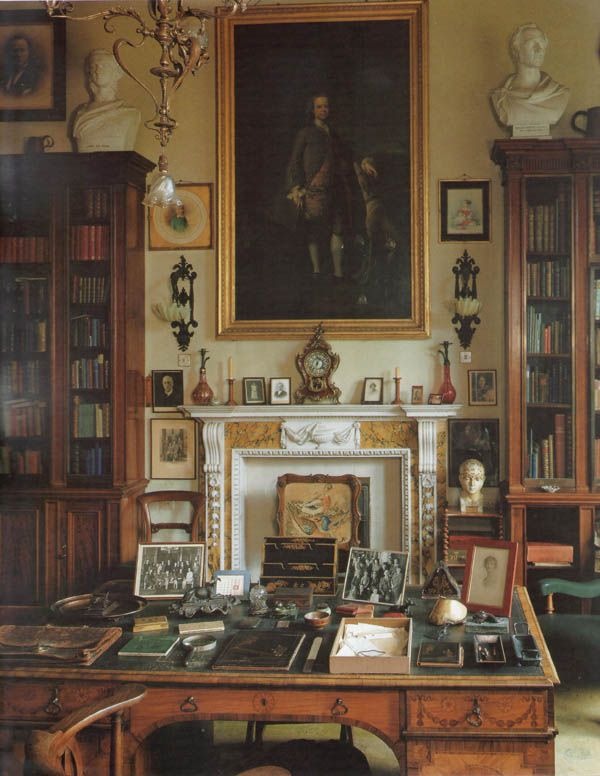 The Study at Sandon Hall in Staffordshire, England. The house was built in a 'Jacobethan' style in the 1850s by the Scottish architect, William Burn.