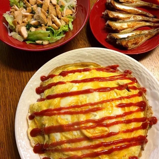 昨日の鶏あまったので薄く切ってサラダのトッピングに〜୧⍢⃝୨⚑ - 4件のもぐもぐ - ★オムライス★はたはた塩焼き★サラダ by kate397