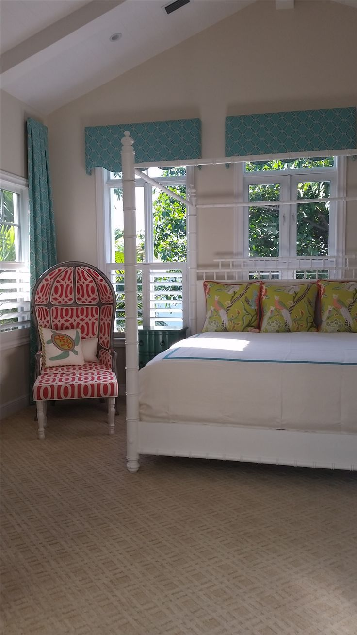 Turquoise, coral and green bedroom. Custom coral and turquoise bedding, custom turquoise drapes and turquoise cornice