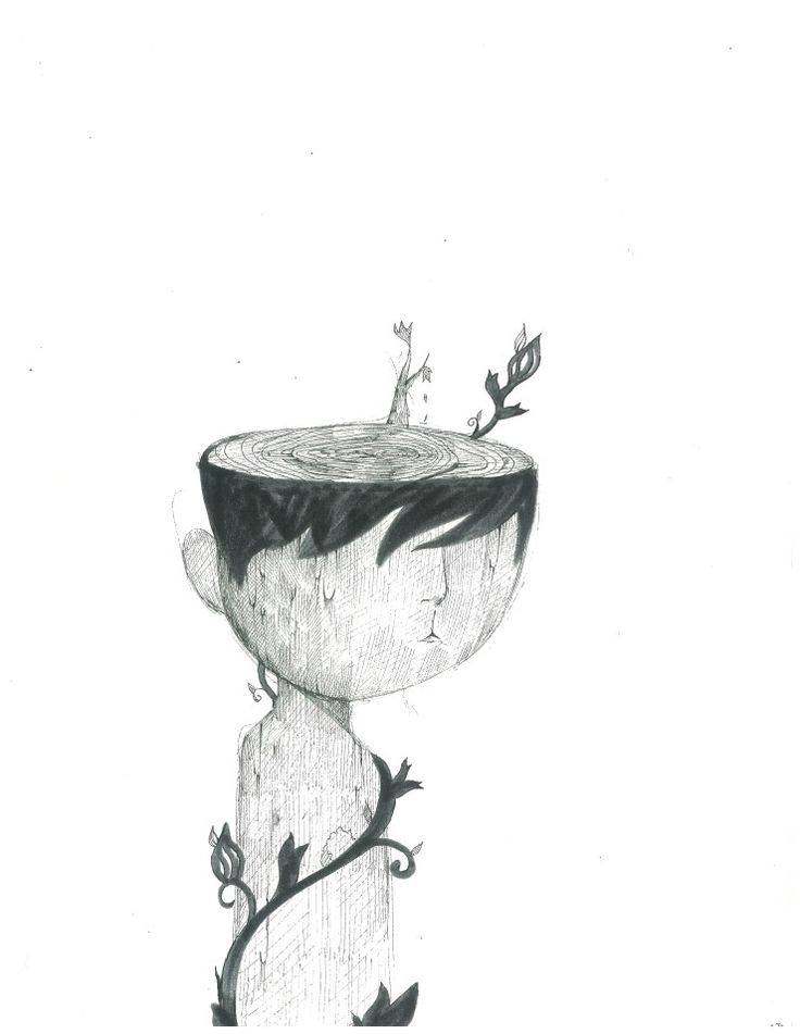 나무,소년,일러스트,풀,나이테